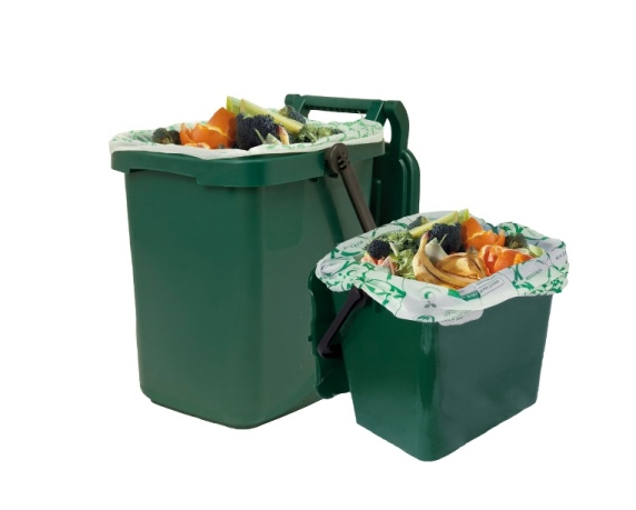 Green food waste caddy outdoor and indoor